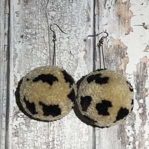 Handmade Cheetah Ball Earrings